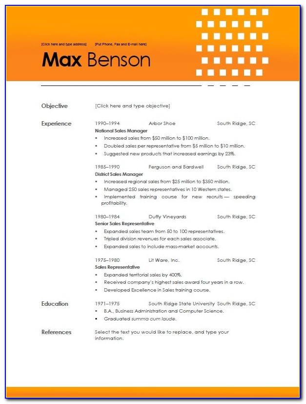 Reverse Chronological Resume Template Free
