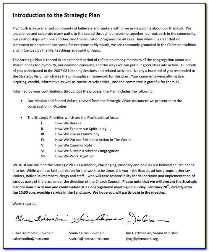 Sample Catholic Church Strategic Plan