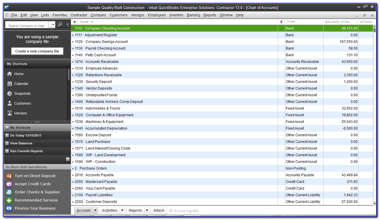 Sample Chart Of Accounts For Small Construction Company