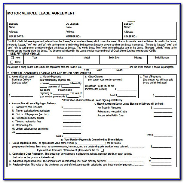 Vehicle Lease Agreement Format In Word