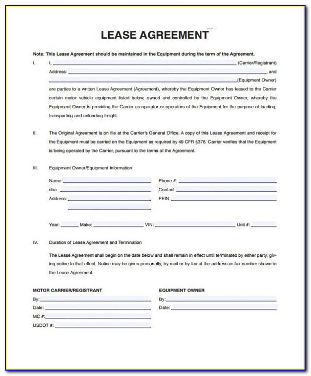 Vehicle Lease Agreement Format India