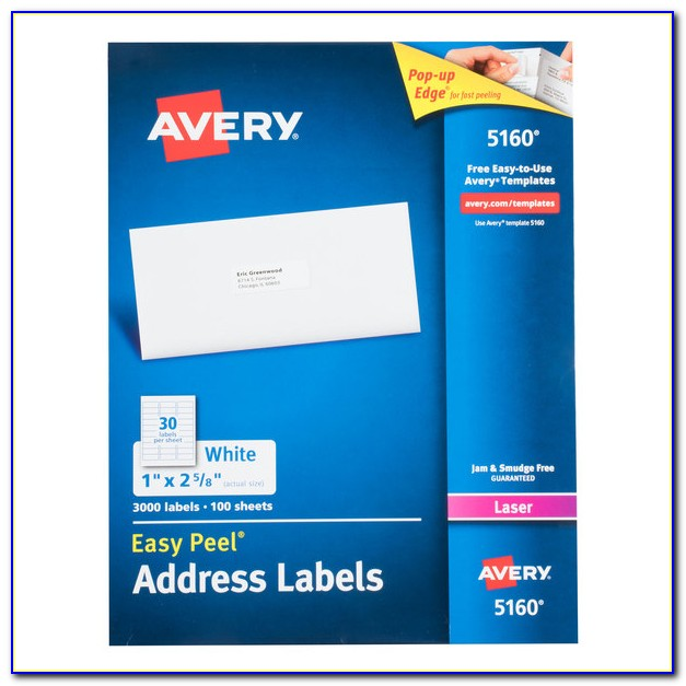 Avery White Mailing Labels 5160 Template