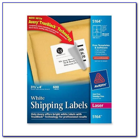 Avery White Shipping Labels 5164 Template