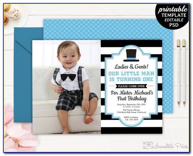 Baby Boy First Birthday Invitation Templates Free