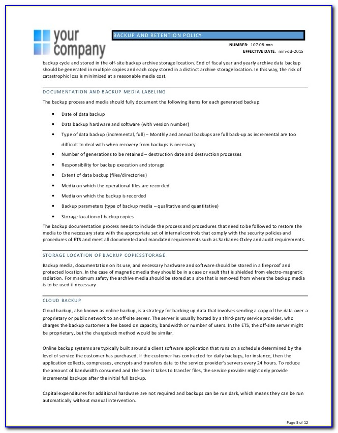Backup Policy Template Nist