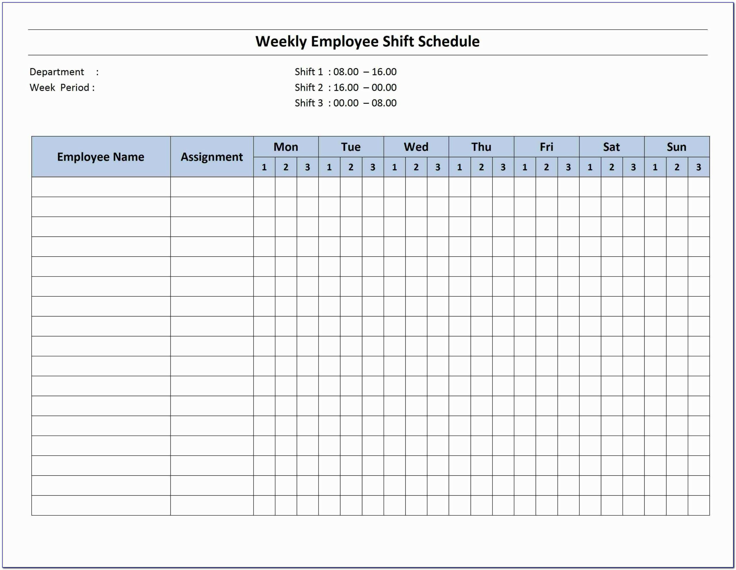 Bi Weekly Schedule Template Excel