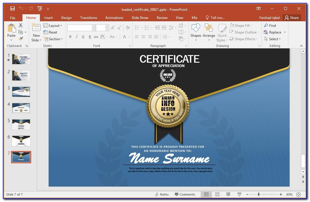 Blank Award Certificate Templates Powerpoint