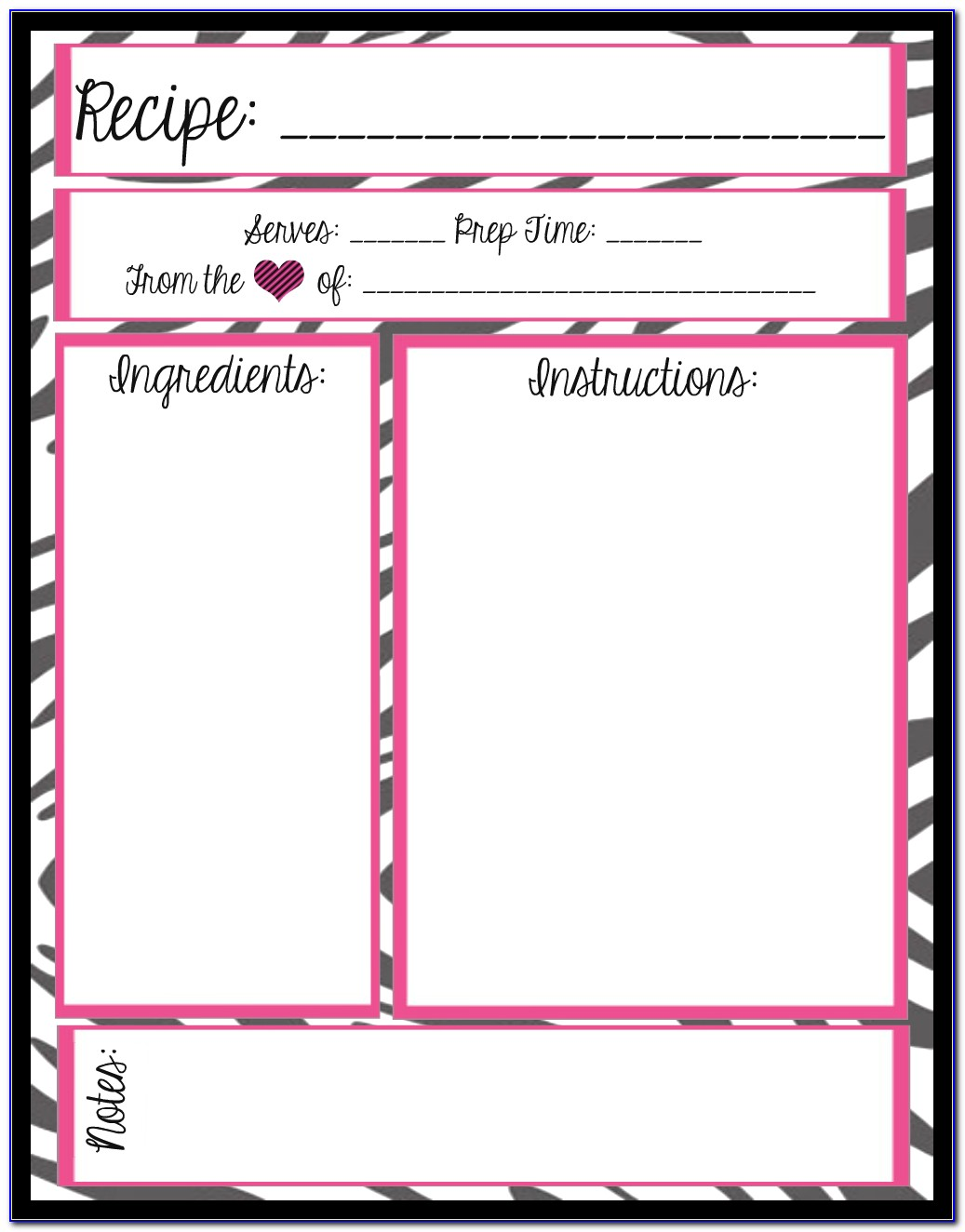 Blank Recipe Card Template Download