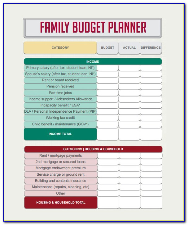 Budget Planner Example Excel