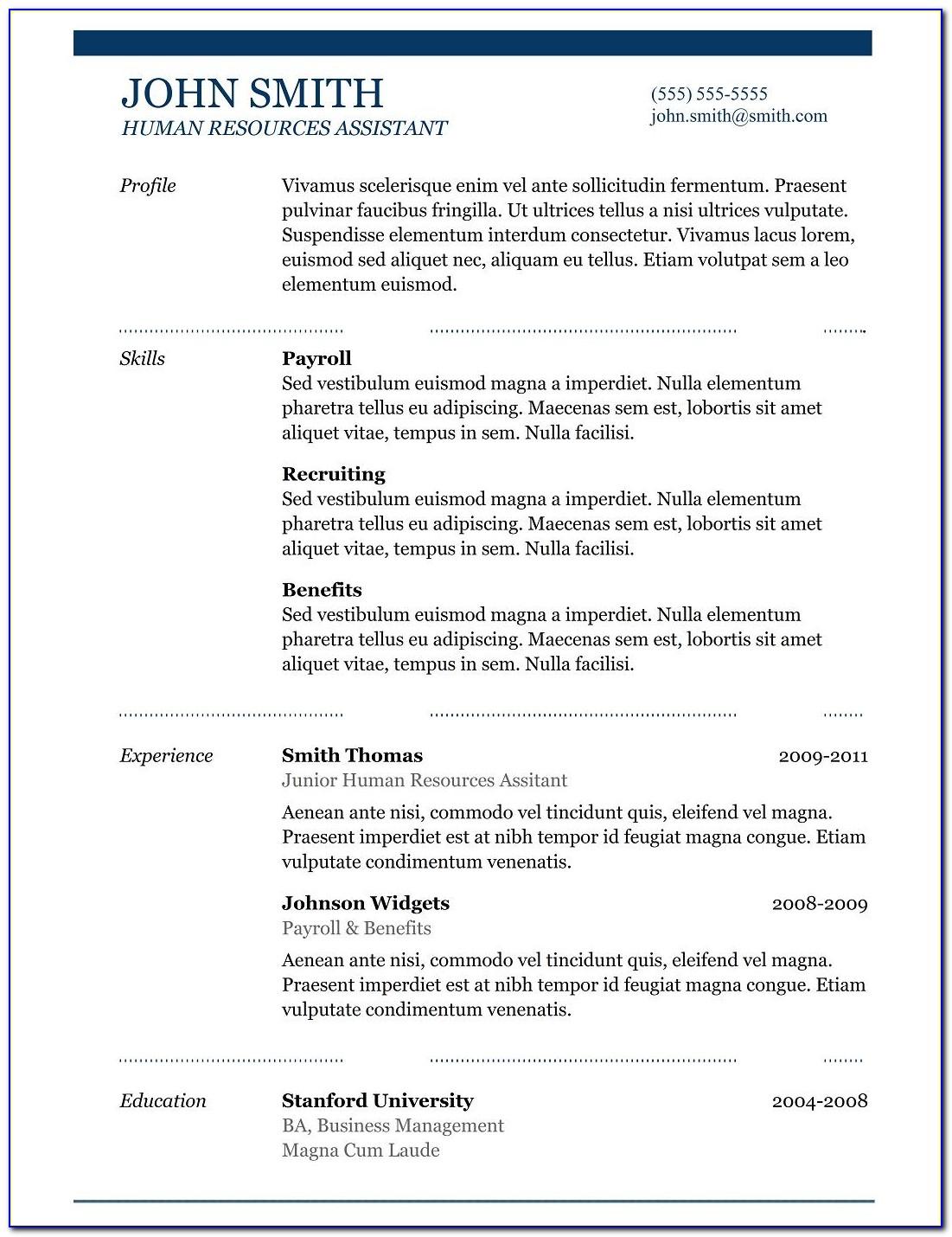 Free Resume Template Word 2018