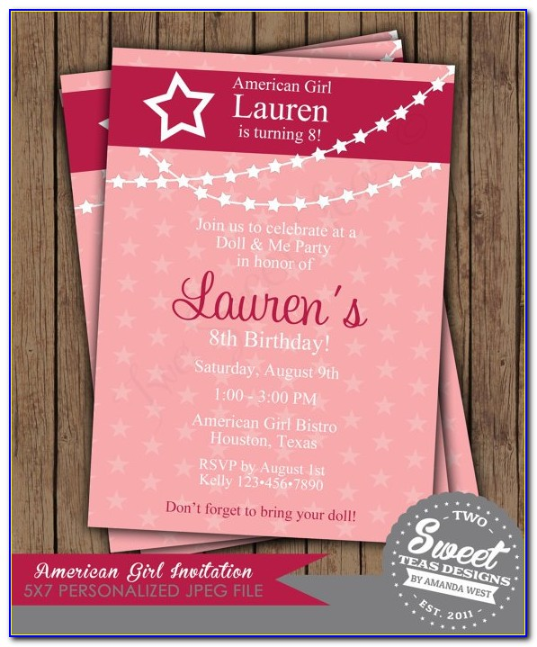 American Girl Birthday Party Invitation Template