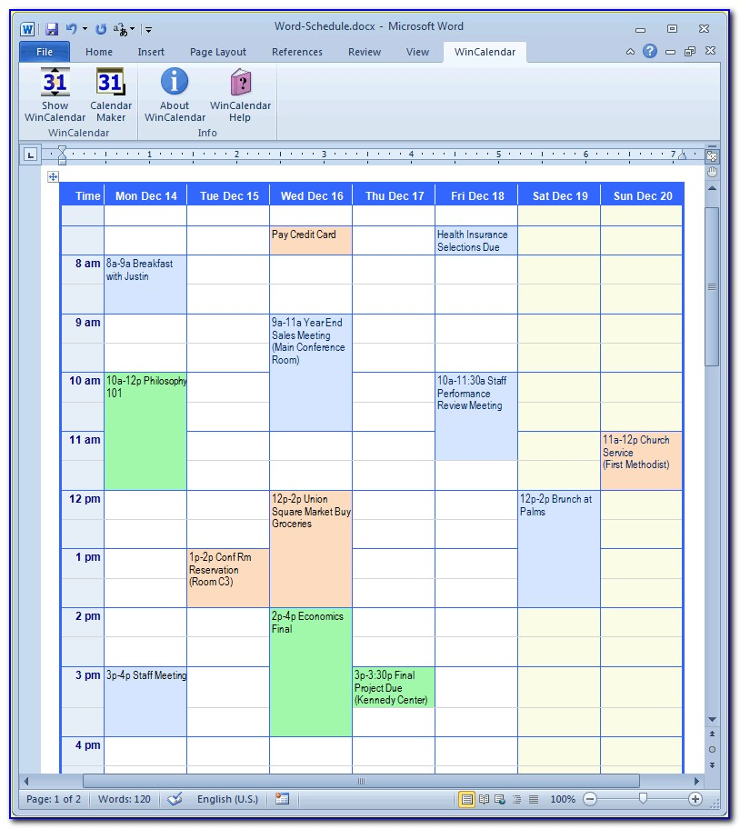 Appointment Calendar 15 Minute Increments Template