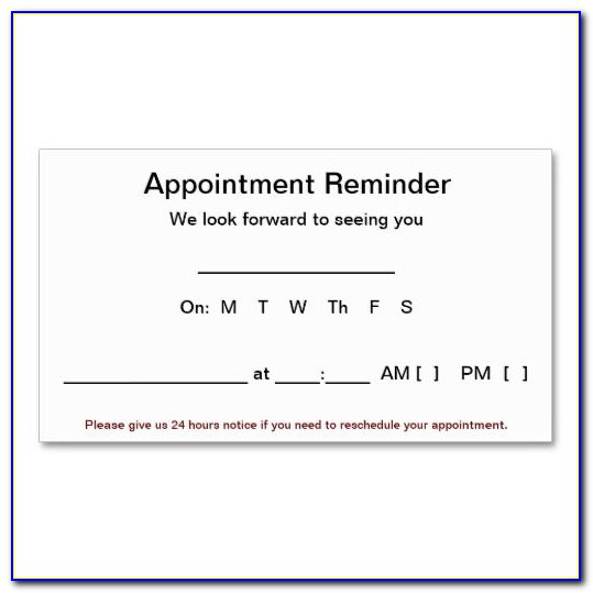 Appointment Reminder Card Template Word