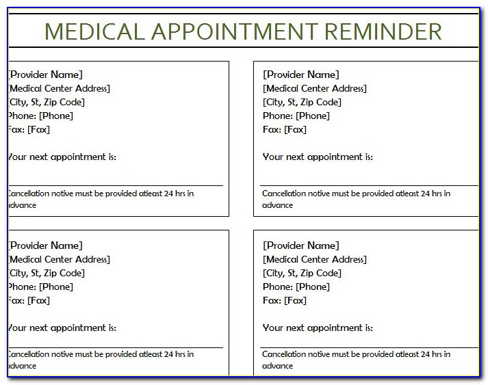 Appointment Reminder Letter Template Medical