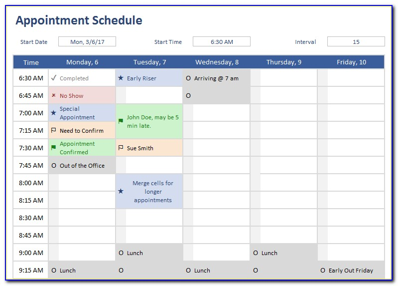 Appointment Schedule Template 30 Minute Increments