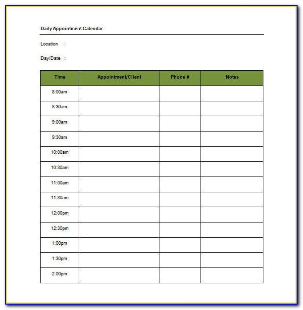 Appointment Scheduling Template Word
