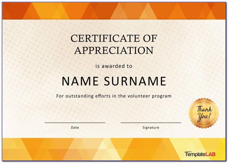 Appreciation Certificates Templates Free Download