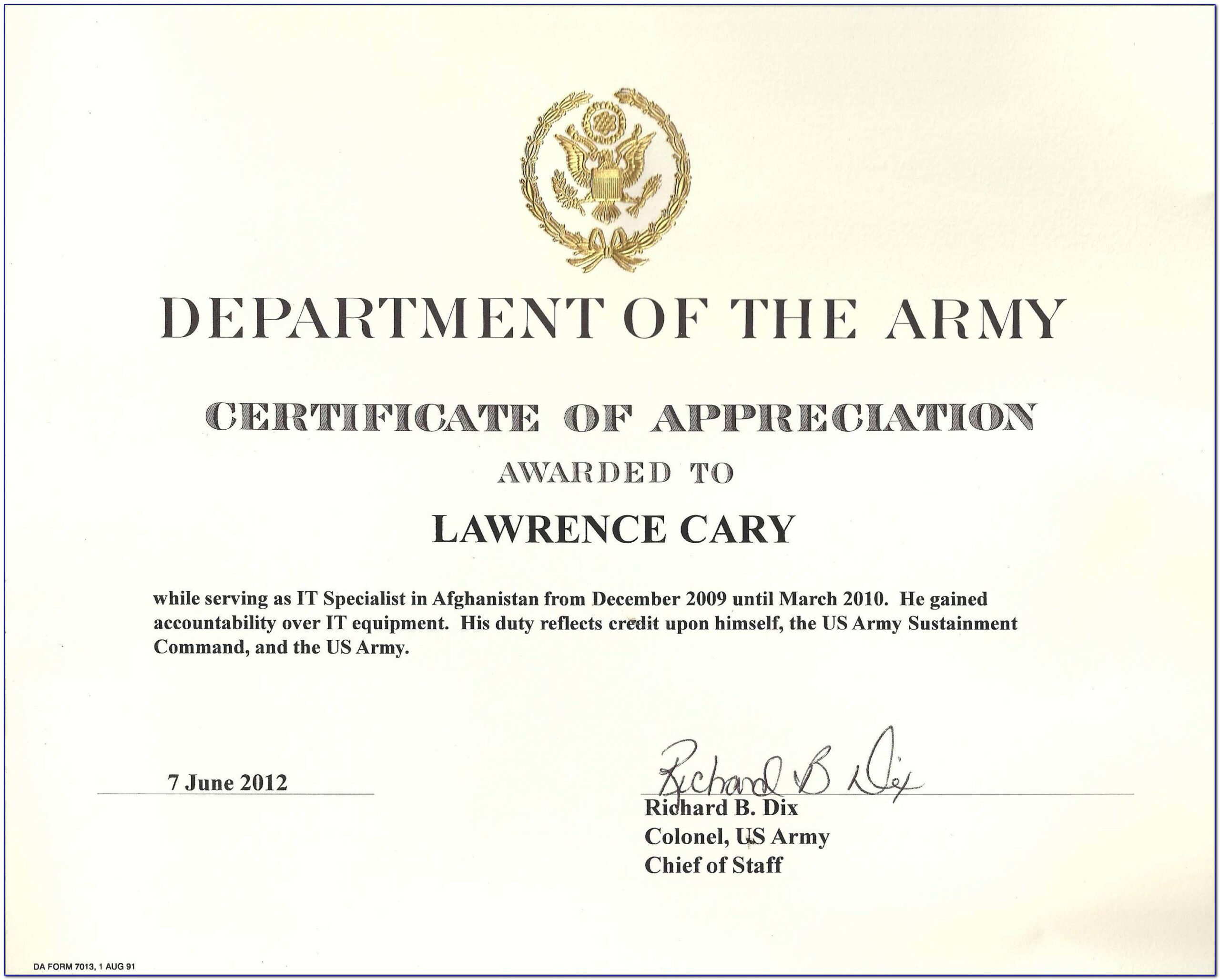 Army Certificates Of Appreciation Templates