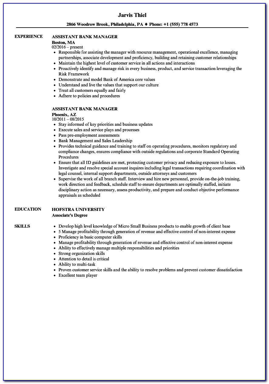 Assistant Manager Cv Example Uk