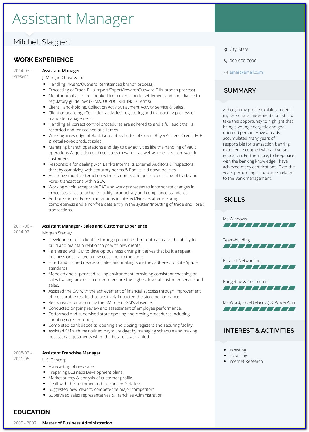 Assistant Manager Cv Examples
