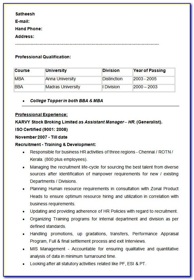 Assistant Manager Production Resume Format