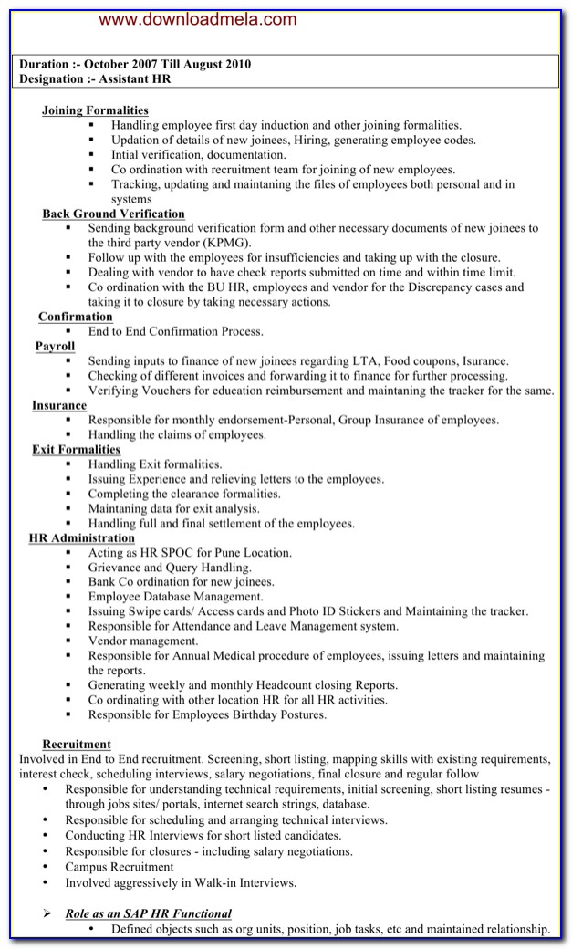 Assistant Manager Resume Word Format