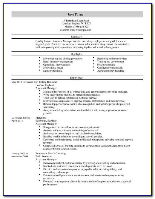 Assistant Project Manager Cv Template