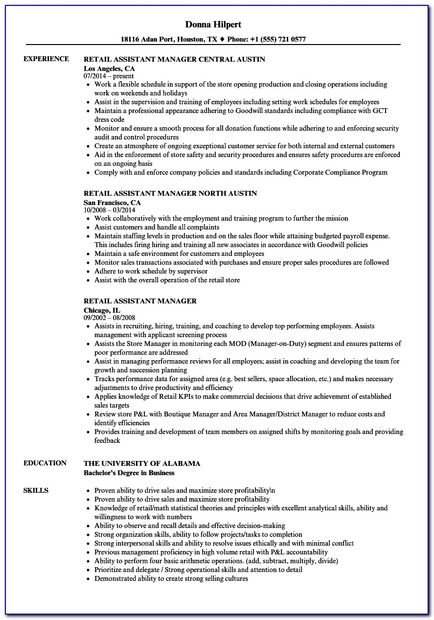 Assistant Site Manager Cv Template Uk
