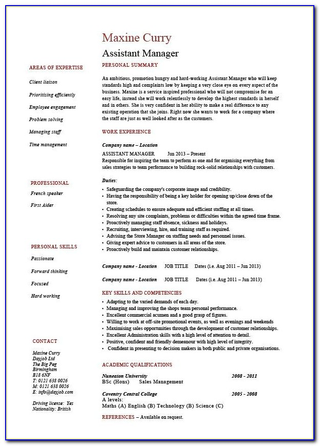 Hr Assistant Manager Cv Template