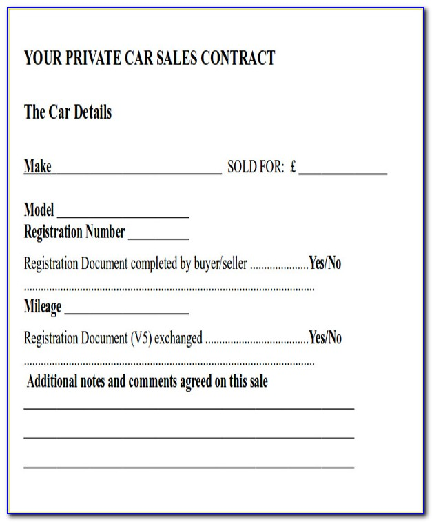 Vehicle Sales Agreement Contract