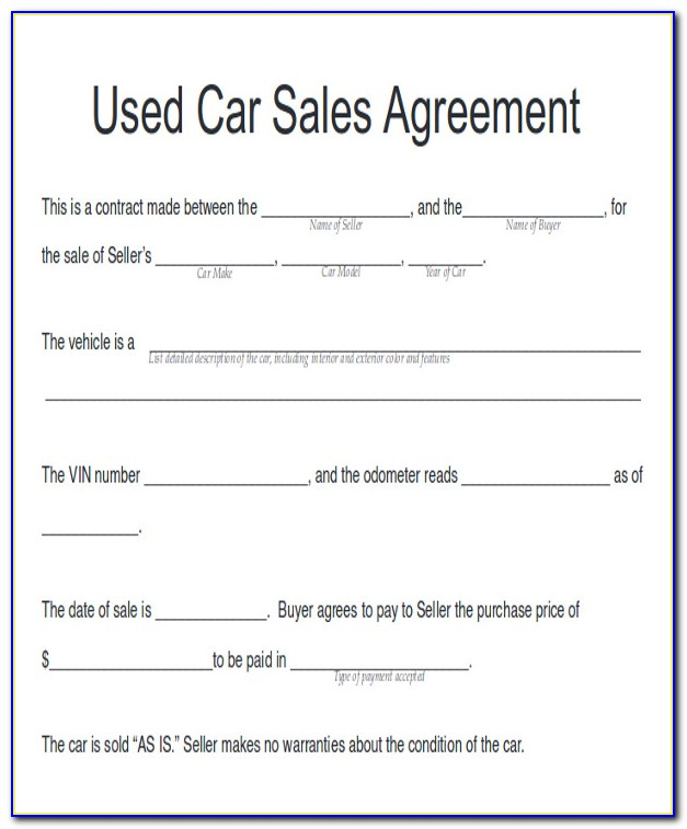 Vehicle Sales Contract Example