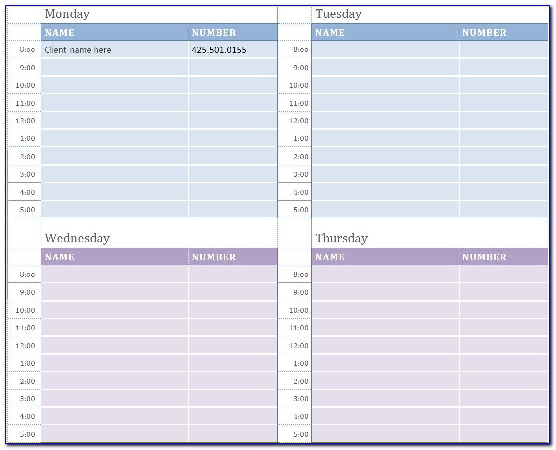 Weekly Appointment Schedule Template Excel