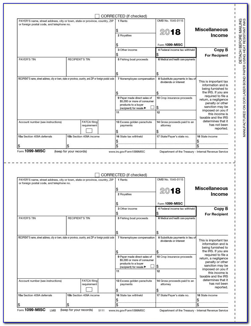 1099 Misc Form 2018 Template