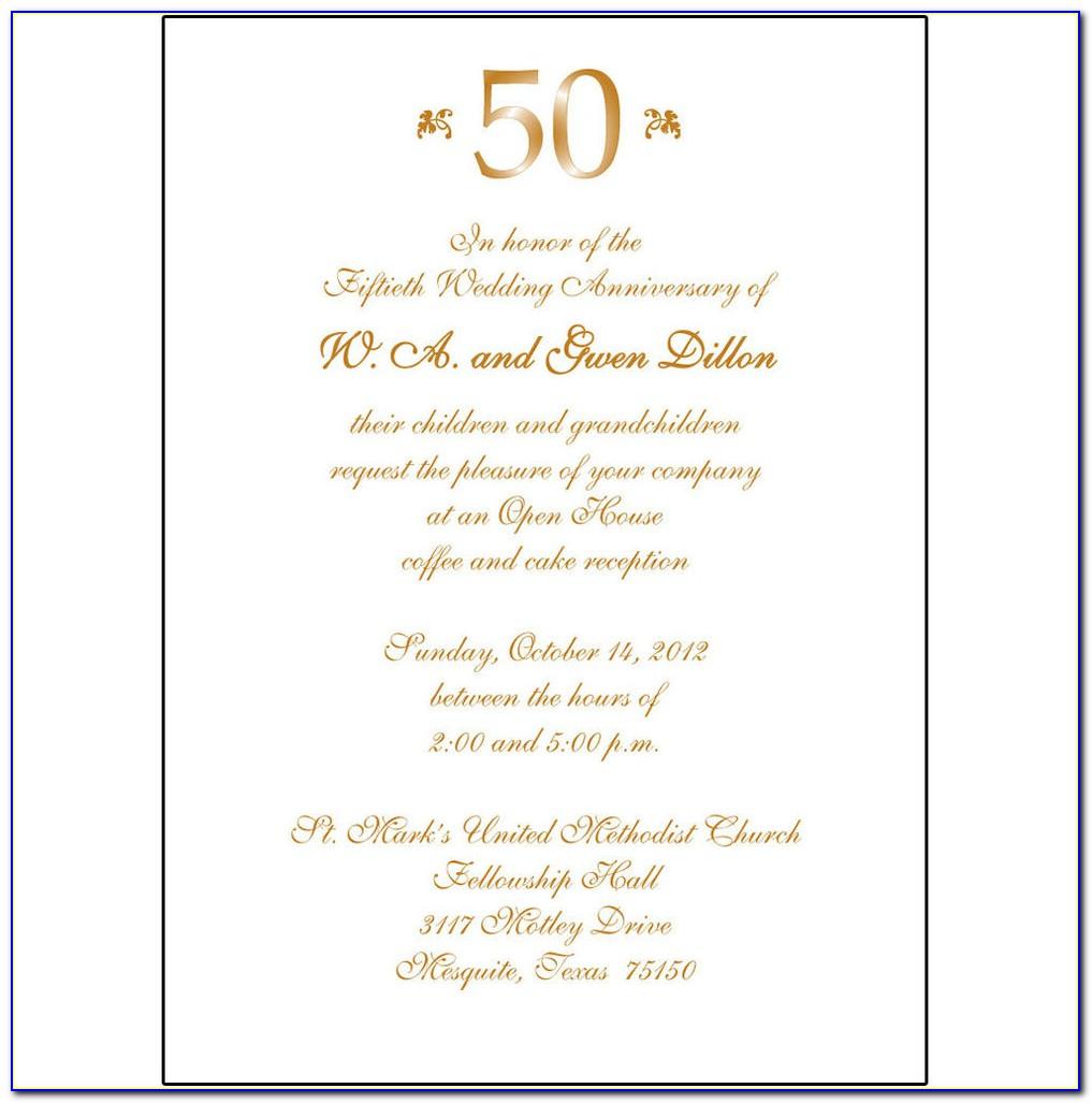 50th Wedding Anniversary Invitation Examples