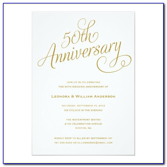 50th Wedding Anniversary Invitation Format