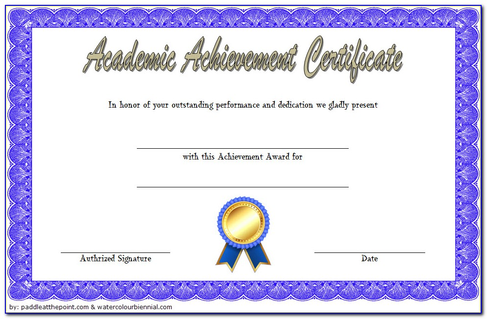 Academic Achievement Award Certificate Template