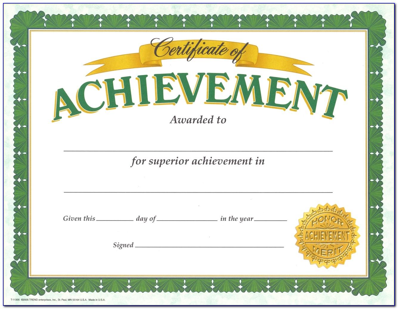 Achievement Award Certificate Templates Free