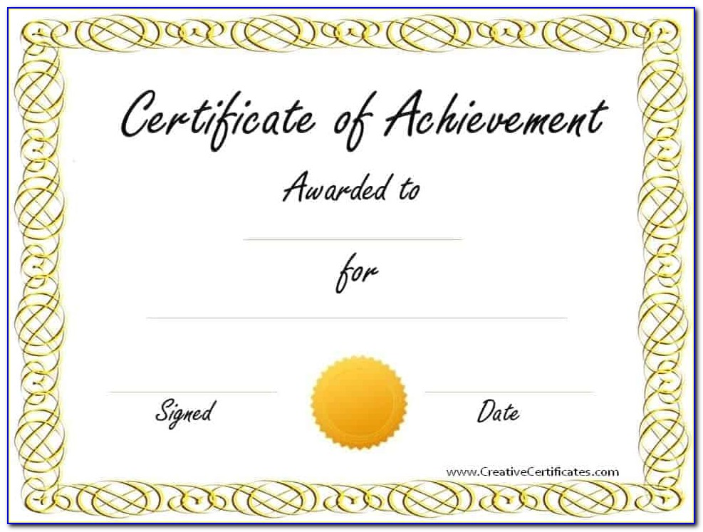Achievement Award Certificates Printable