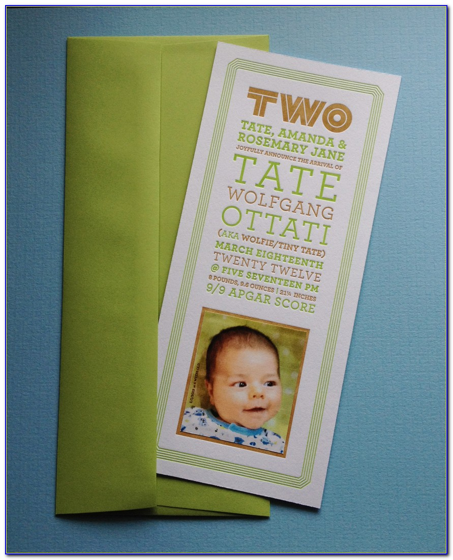 Affordable Letterpress Birth Announcements