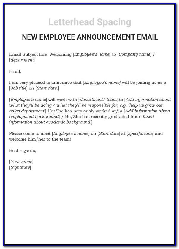Baby Arrival Employee New Baby Announcement Email