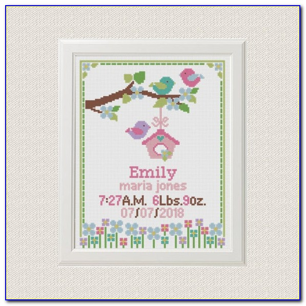 Baby Girl Birth Announcement Cross Stitch