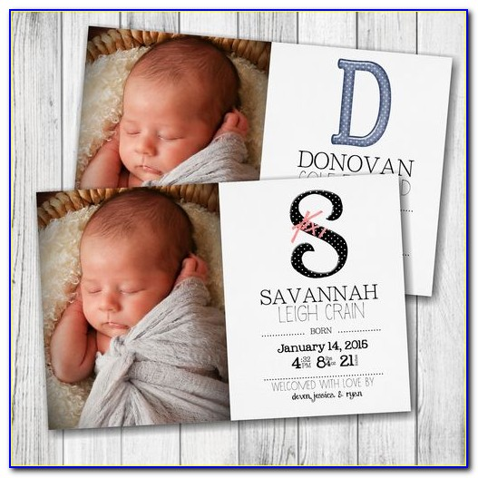 Double Sided Birth Announcements