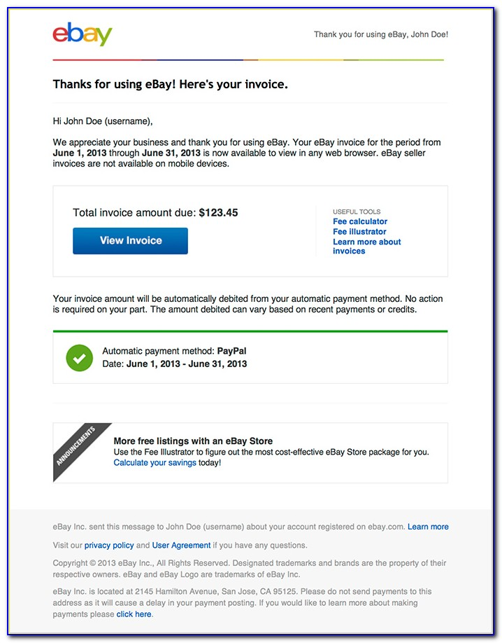 Ebay Payment Invoice