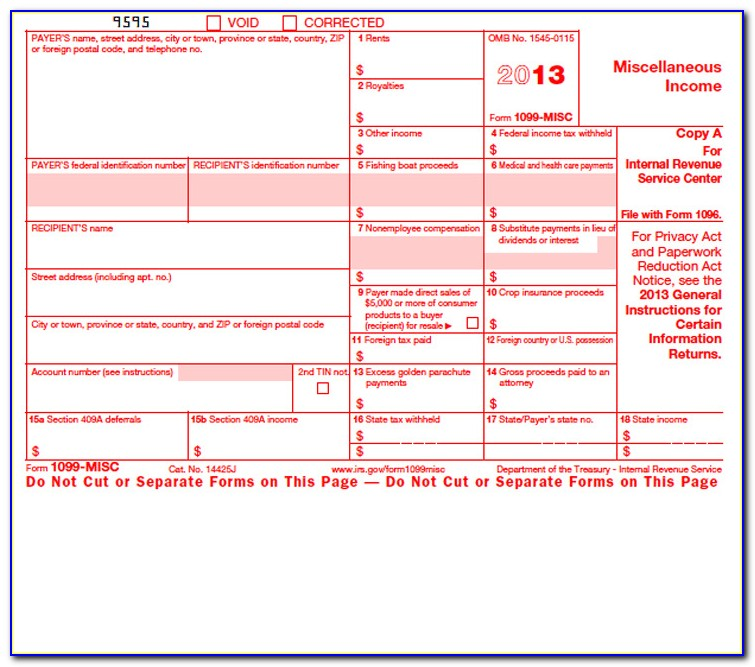 Fillable 1099 Misc Form 2017 Template