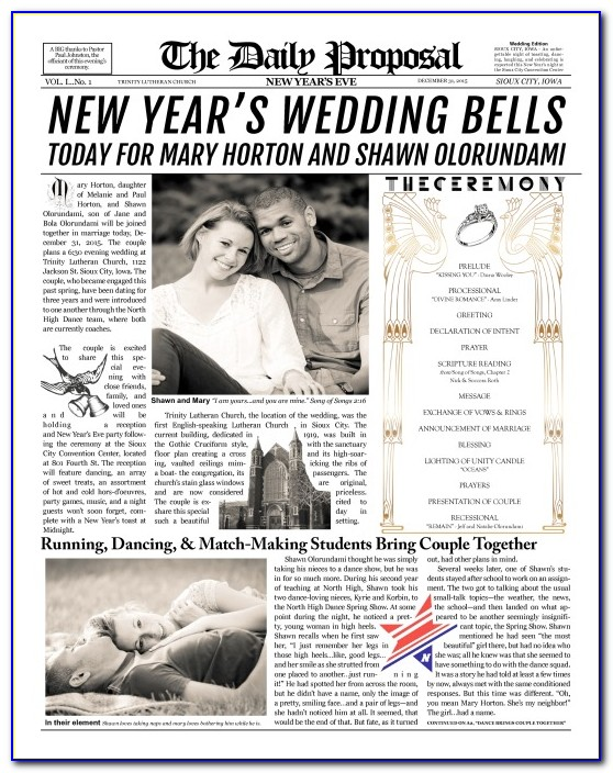 Newspaper Wedding Announcement Wording Samples