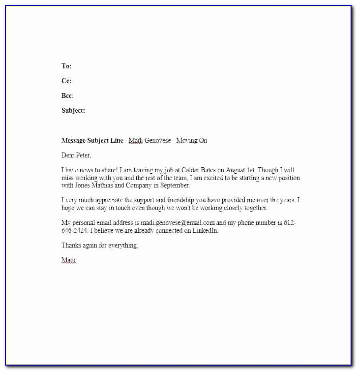 Resignation Announcement Employee Leaving Announcement Email Template