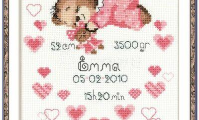 Stamped Cross Stitch Birth Record Kits