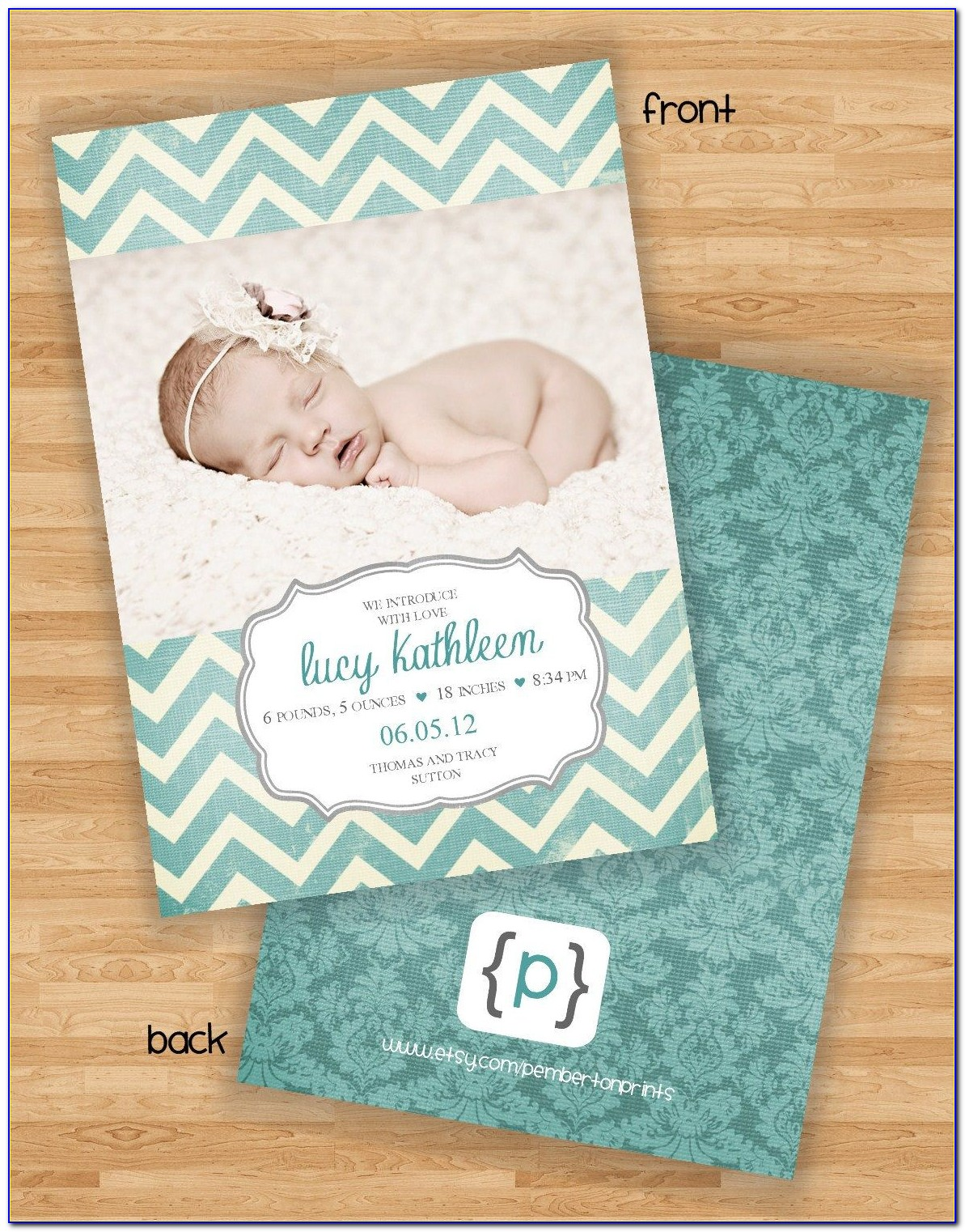 Two Sided Birth Announcements