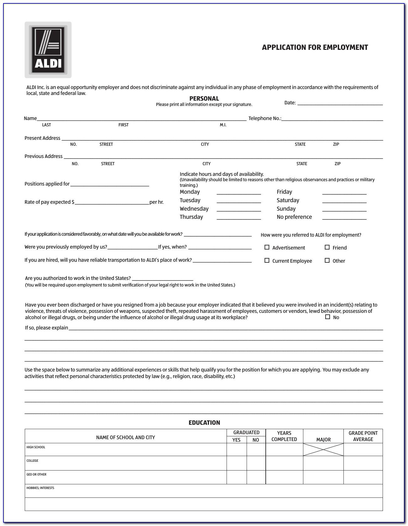 Aldi Jobs Application Form