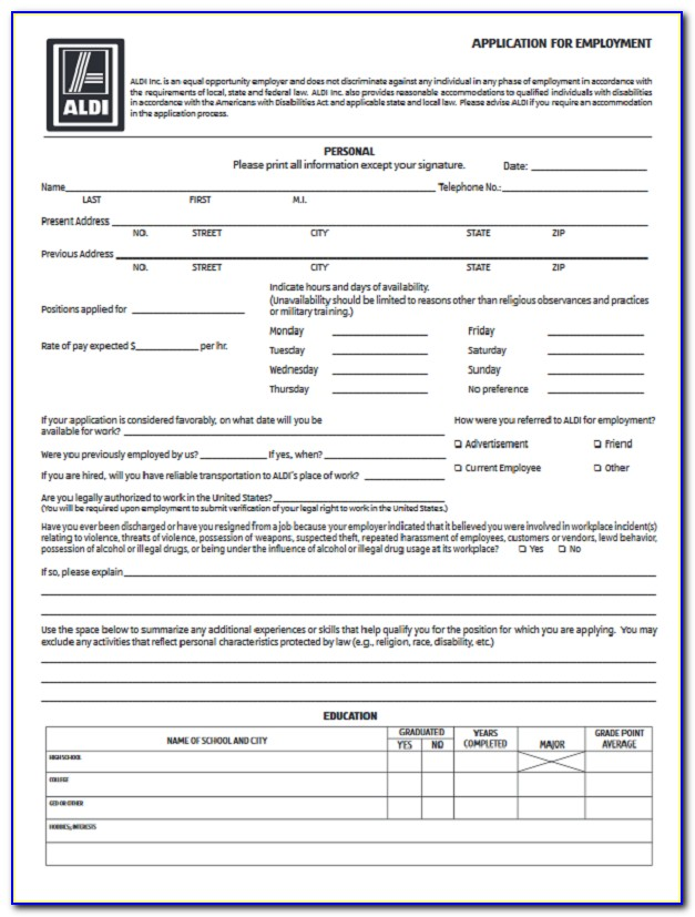 Aldi Jobs Application Online